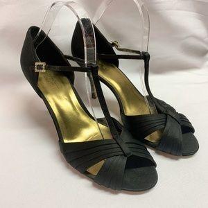 Nine West Size 9.5M Black Satin Heels